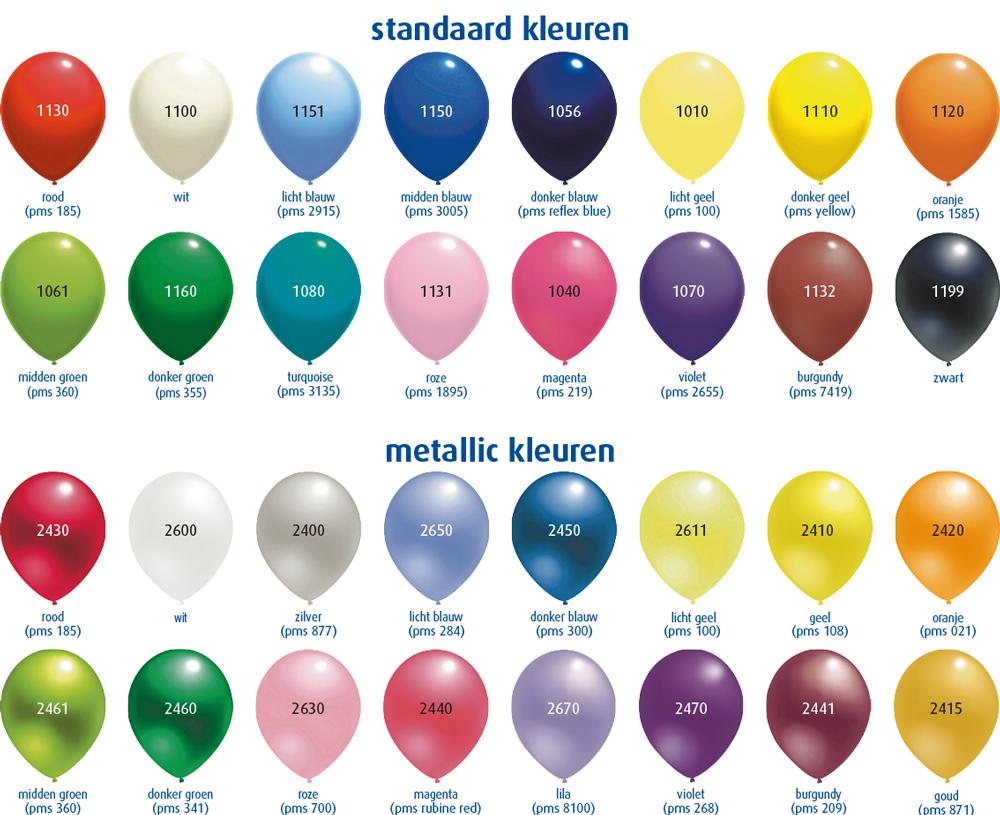 Ballonkleuren en formaten - Kleuridee voor een gang ...
